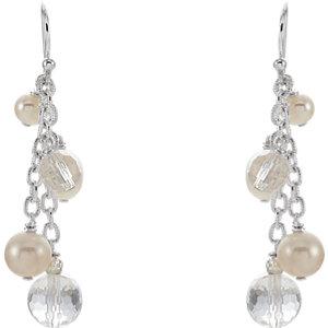 Sterling Silver Freshwater Pearl & Crystal Earrings