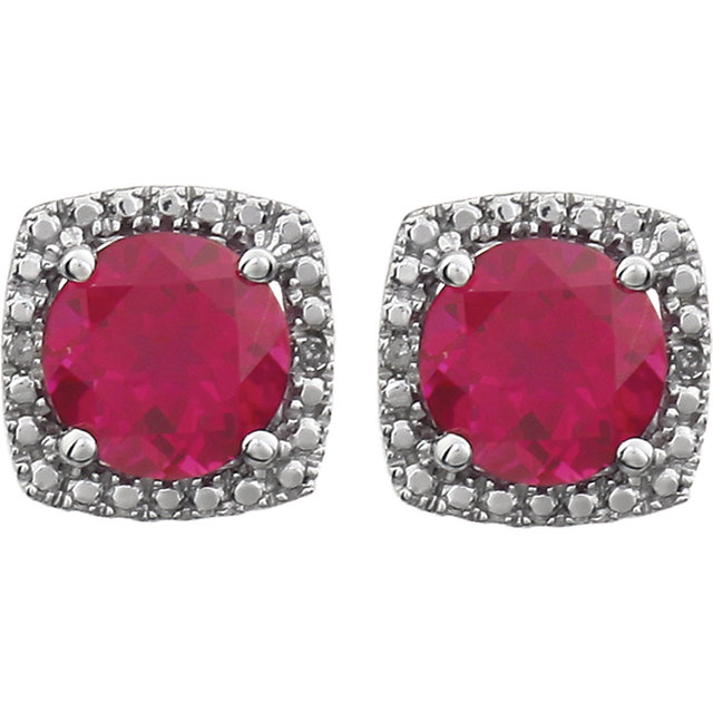 Sterling Silver Created Ruby & .015 CTW Diamond Earrings