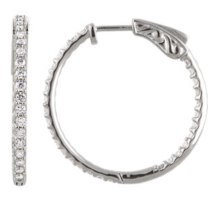 Platinum 1 CTW Diamond Inside-Outside 26.5 mm Hoop Earrings
