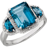 London Blue Topaz & Diamond Accented Ring