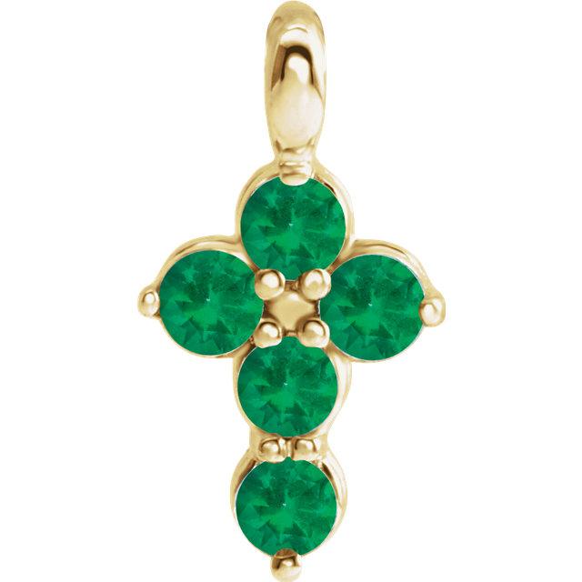 14K Yellow Emerald Cross Pendant