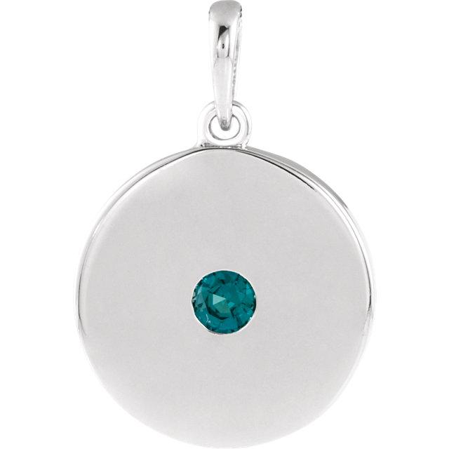 14K White Alexandrite Disc Pendant