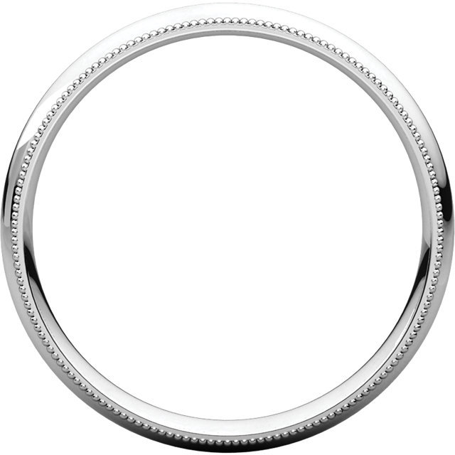 Sterling Silver 3 mm Milgrain Half Round Comfort Fit Band Size 14