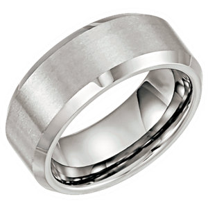 Tungsten 8mm Satin & Beveled Edge Band Size 7