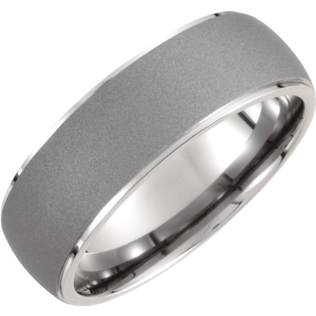 Titanium 7.5mm Oxidized Center Rounded Band Size 9