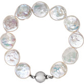 White Freshwater Cultured Coin Pearl Necklace or Bracelet
