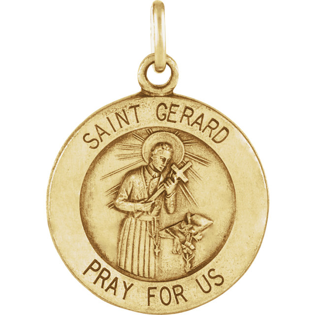 14K Yellow 12mm St. Gerard Medal
