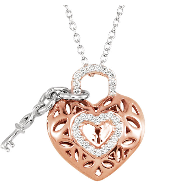 14K Rose Gold-Plated Sterling Silver 1/6 CTW Diamond Heart 18