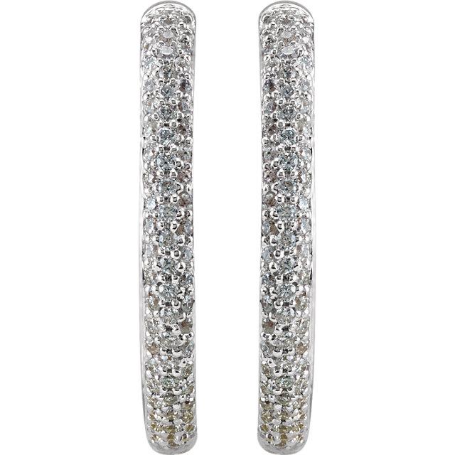 18K White 1 CTW Diamond Inside/Outside Hoop Earrings