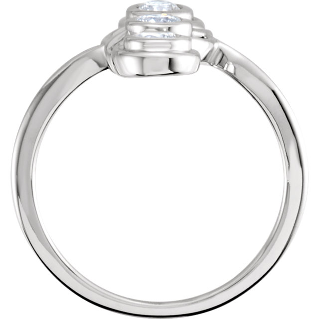 14K White 1/2 CTW Diamond Three-Stone Ring