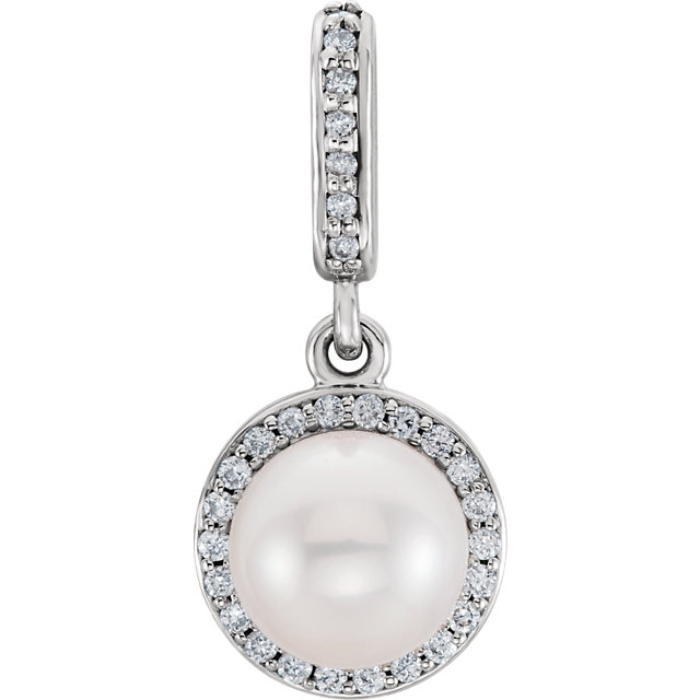 14K White Freshwater Cultured Pearl & 1/10 CTW Diamond Pendant