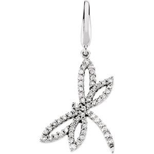 Charm / Pendant, 14K White 1/3 CTW Diamond Dragonfly Charm