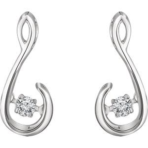 Sterling Silver 1/10 CTW Diamond Freeform Earrings