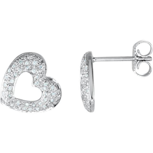 14K White 1/4 CTW Diamond Heart Earrings
