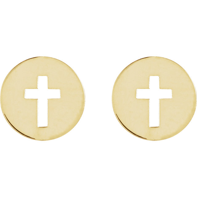 14K Yellow Pierced Cross Earrings