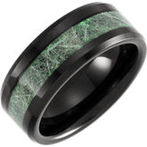 Beveled Edge Band with Imitation Meteorite Inlay