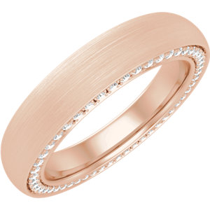 14K Rose 4 mm 1/2 CTW Diamond Accented Band with Satin Finish Size 7