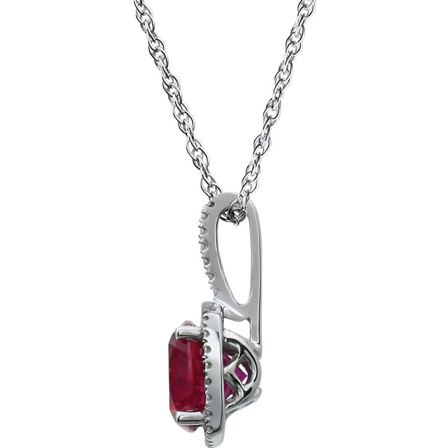 Sterling Silver 7 mm Lab-Grown Ruby & .015 CTW Diamond 18