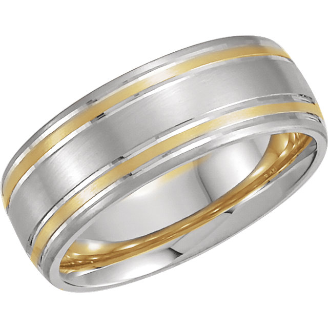 14K White/Yellow 7 mm Comfort-Fit Grooved Band Size 8.5