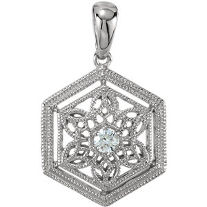 14K White .05 CTW Diamond Filigree Pendant