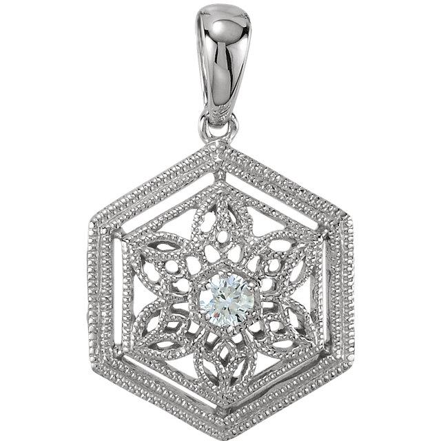 14K White .05 CTW Diamond Filigree Pendant