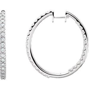 14K White 3 CTW Diamond Hinged Inside-Outside Hoop Earrings