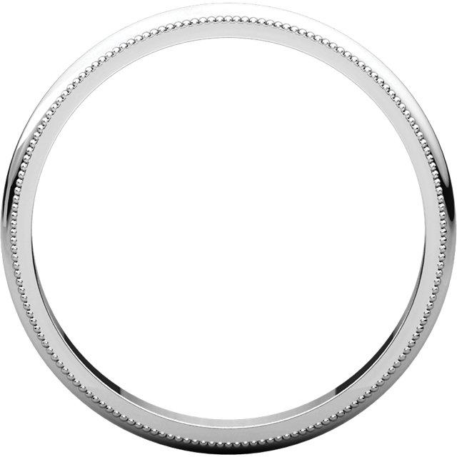 14K White 2.5 mm Milgrain Half Round Band Size 5