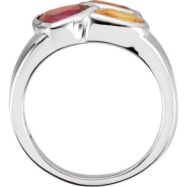 Sterling Silver Mozambique Garnet, Madeira Citrine, & Citrine Ring Size 7