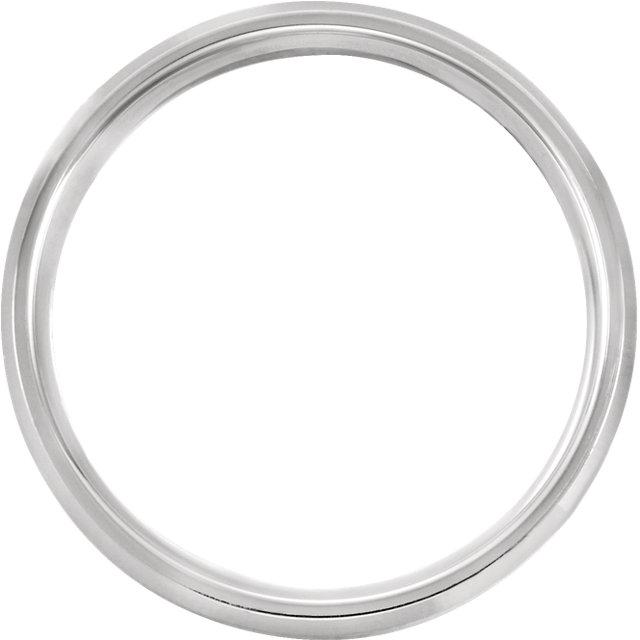 14K White 6 mm Comfort-Fit Beveled Edge Band with Satin Finish Size 10.5