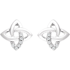 Sterling Silver 1/8 CTW Diamond Earrings