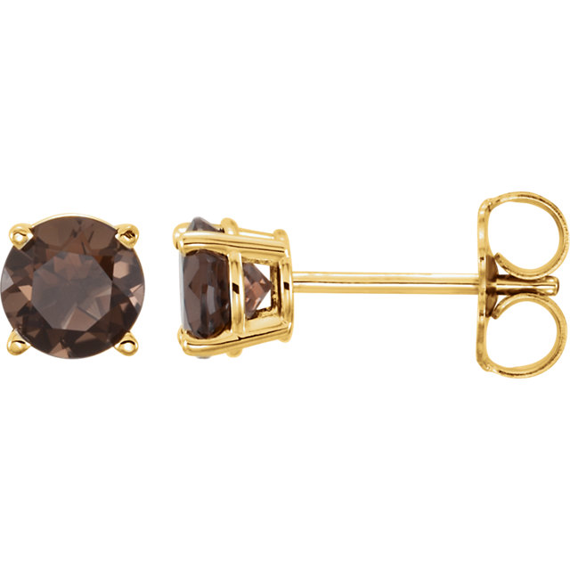 14K Yellow 5 mm Round Smoky Quartz Earrings