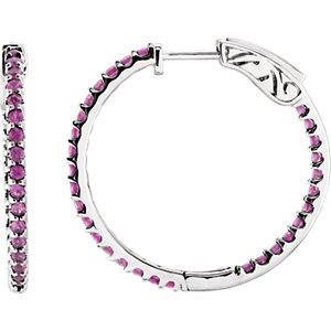 14K White Pink Sapphire Hoop Earrings