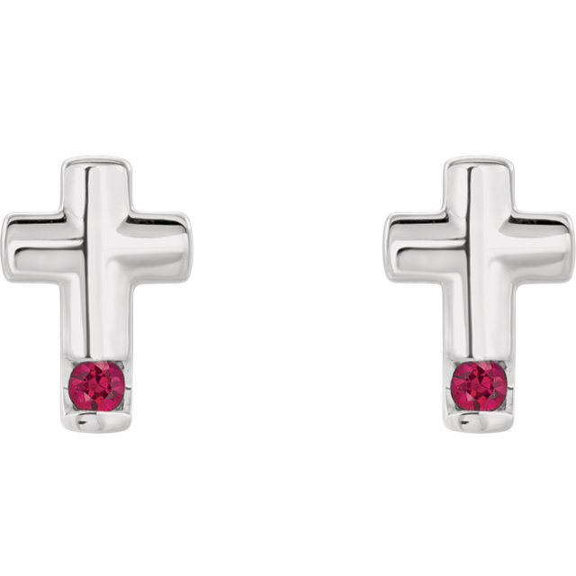 14K White Ruby Cross Earrings