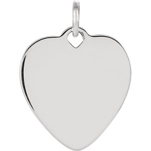 Charm / Pendant, Sterling Silver Heart Charm