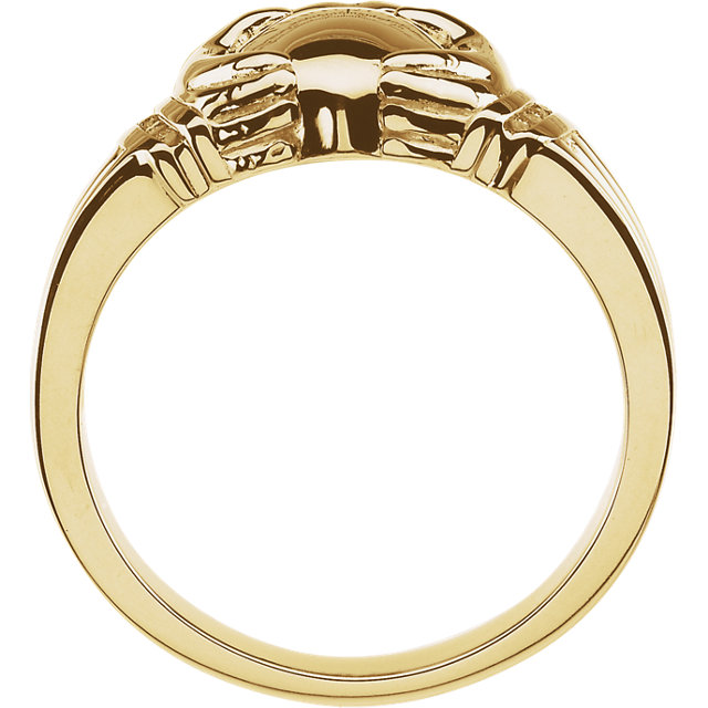 14K Yellow .05 CTW Ladies Claddagh Ring