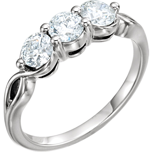 14K White 1 CTW Diamond Three-Stone Ring