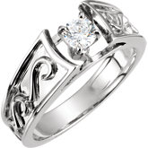 4-Prong Fancy Scroll Solitaire Engagement Ring