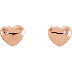 14K Rose .02 CTW Diamond Heart Earrings