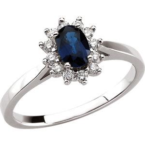 Fashion Rings , Blue Sapphire & Diamond Halo-Style Ring