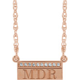 Accented Serif Monogram Bar Necklace