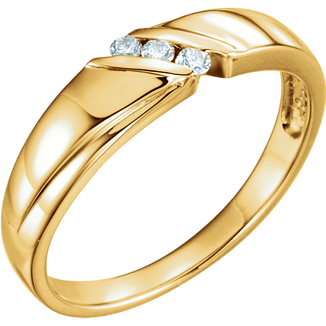 14K Yellow .08 CTW Diamond 3-Stone Men-s Band