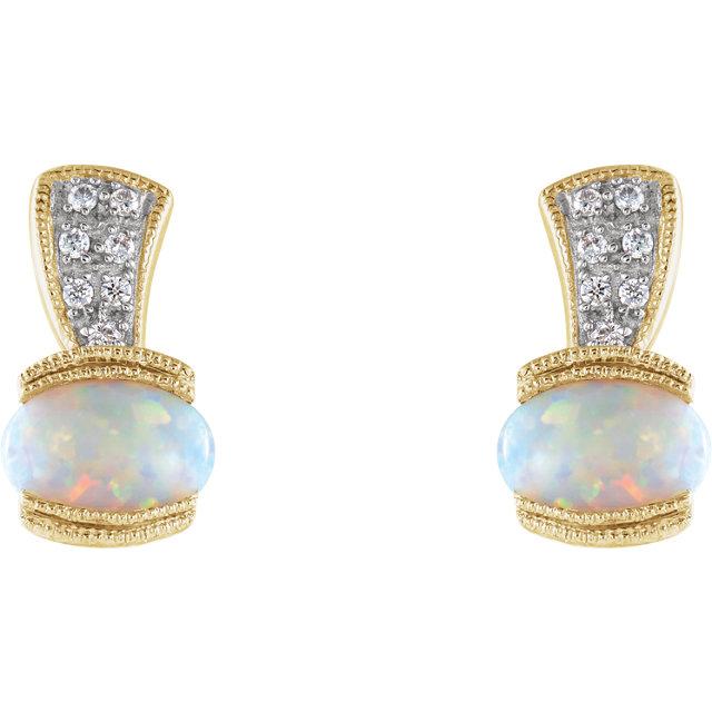 14K Yellow Opal & .07 CTW Diamond Earrings
