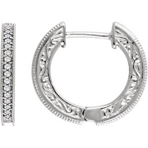 14K White 1/5 CTW Diamond Milgrain Hoop Earrings