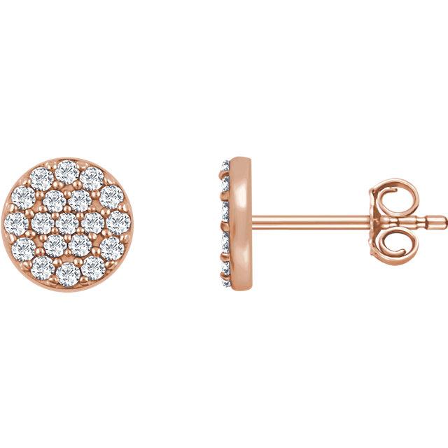 14K Rose 1/3 CTW Diamond Cluster Earrings