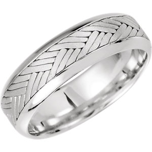 14K White 7 mm Woven Comfort-Fit Band