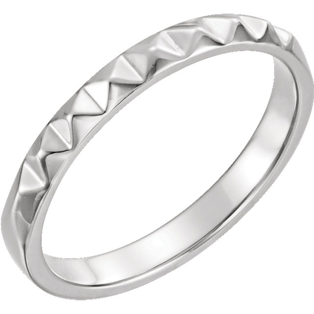 14K White Stackable Pyramid Ring