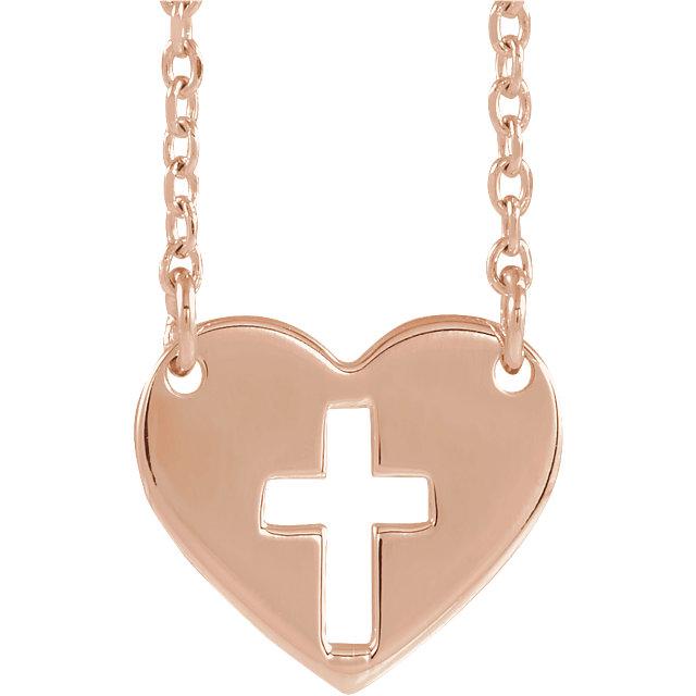 14K Rose Pierced Cross Heart 16-18