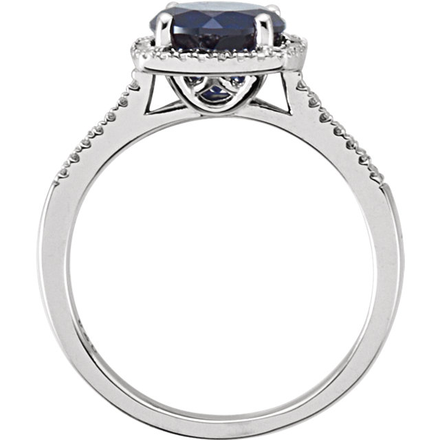 Sterling Silver Lab-Grown Blue Sapphire & .01 CTW Diamond Ring
