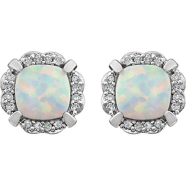 14K White Created Opal & 1/10 CTW Diamond Earrings