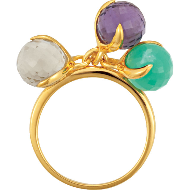 18K Yellow Vermeil Multi-Gemstone Ring Size 7